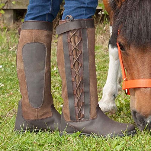 Adults Outdoor Walking Waterproof Leather Laced Riding Country Boots 3s165Tmck