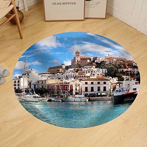 Gzhihine Custom round floor mat Panorama of Ibiza Old City - Eivissa. Spain Balearic Islands by Gzhihine