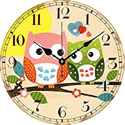 Wood Wall Clock, Yesee Non Ticking Silent Wooden Clock Battery Operated, Decorative Large Wall Clock for Living Room, Bedroom,Hotel. (12 Inches, Double Owl)
