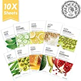 THE FACE SHOP REAL NATURE MASK SHEET Set (Aloe, Cucumber, Lemon, Rice, Honey, Avocado, Pomegranate, Olive, Kelp, Mung Bean)