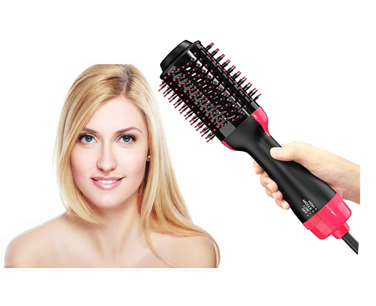 One Step Hair Dryer Styler Volumizer Multi-functional High-power 3-in-1 Salon Negative Ion Hair Straightener Curly Hair Comb Hot Air Brush for All Hair Type with Anti-Scald Feature