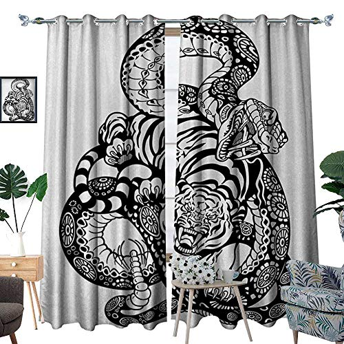 RenteriaDecor Tiger Room Darkening Wide Curtains Tattoo Style Scene of Two Animals Fighting Long Snake with Sublime Large Cat Battle Customized Curtains W108 x L84 Black White