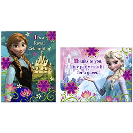 Amazon Com Disney Frozen Party Invitations Thank You Notes 2