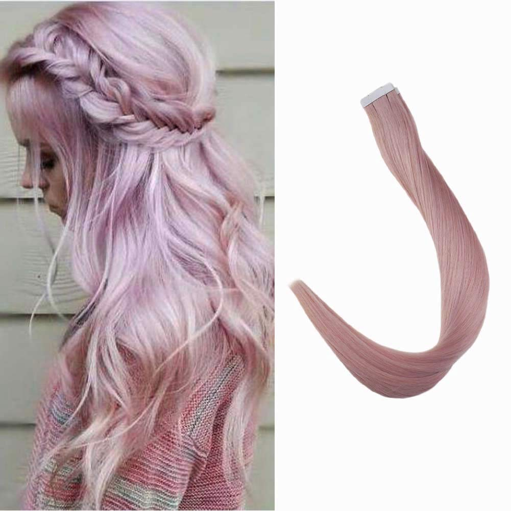 Tape Extensions Full Shine Remy Human Hair Color Pink Lilac Straight Hair Extensions 22 inch 25 Gram Per Pack 10pcs Double Sided Skin Weft 100% Real Human Hair Brazilian Hair White Tapes by Full Shine