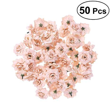 50 Stück Rosen Blumen Köpfe mit Blütenblätter Silber Künstliche Blumen