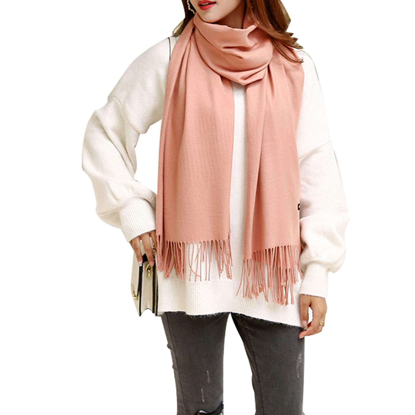 orangepink Womens Soft Cashmere Wool Scarf, Extra Large Thick Soft Winter Pashmina Shawl Wraps Scarves