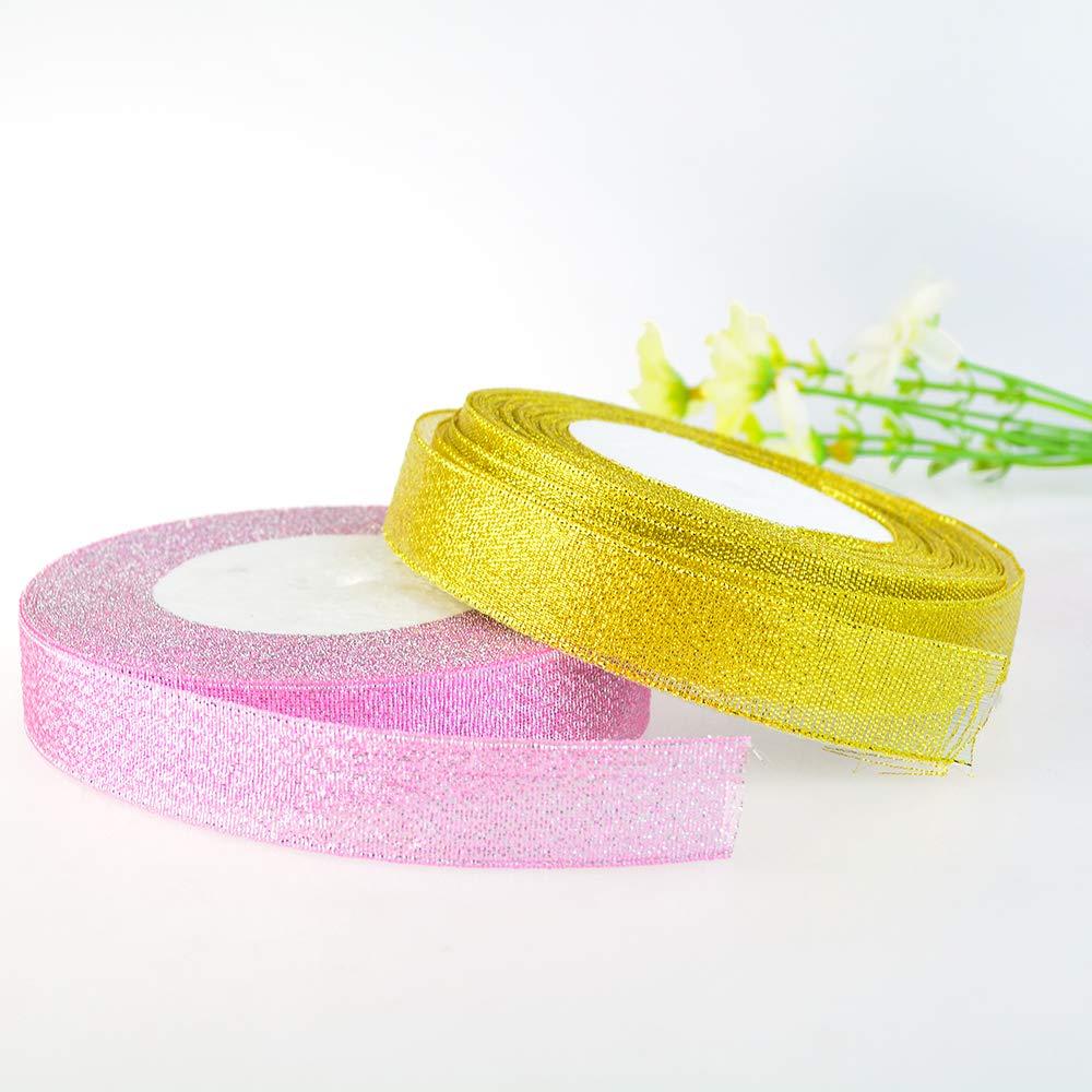 con glitter 8 rotoli da 2 cm di larghezza 8 colori nastri decorativi per confezioni regalo Baotongle 182 metri di nastro in organza