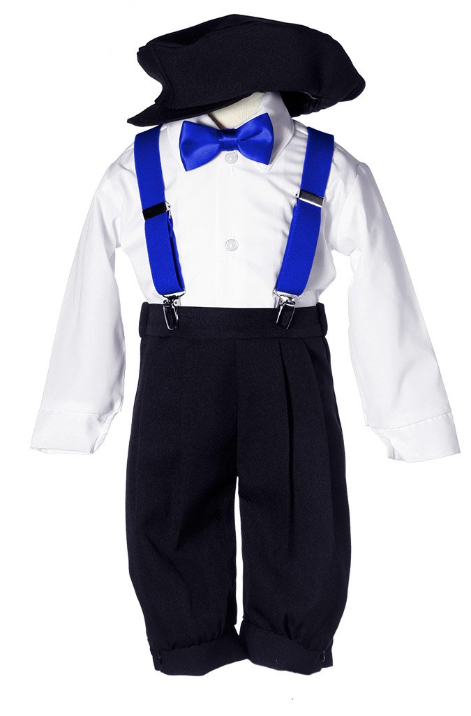 Toddler Boys Black Knicker Set with Royal Blue Suspenders & Bow Tie 4T