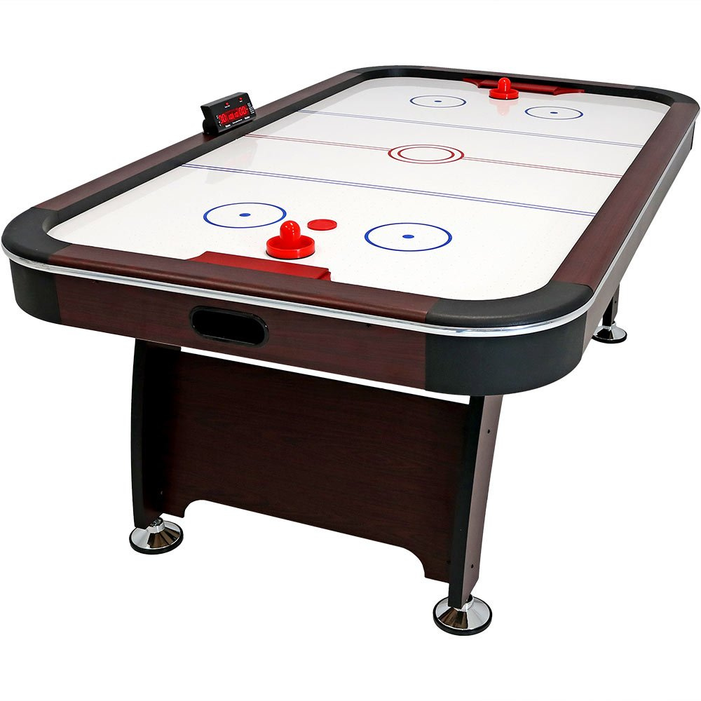 Sunnydaze 7 ft Air Hockey Table - Arcade Game for Game Room - Includes Electric Scorer, Pushers, and Pucks by Sunnydaze Decor