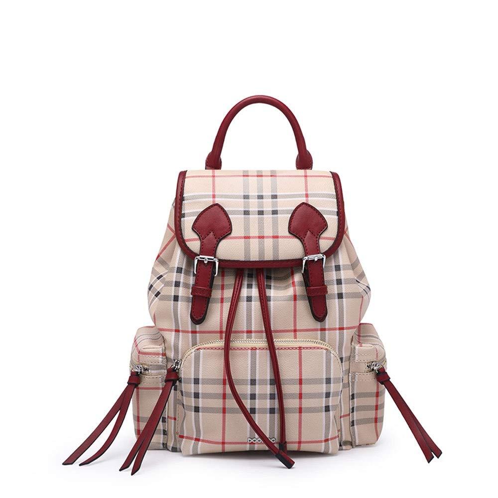ショルダーバッグ女性の潮韓国の野生の大学風のバッグ英国の格子縞のバックパック (Color : 赤)  赤 B07NVRVBQC