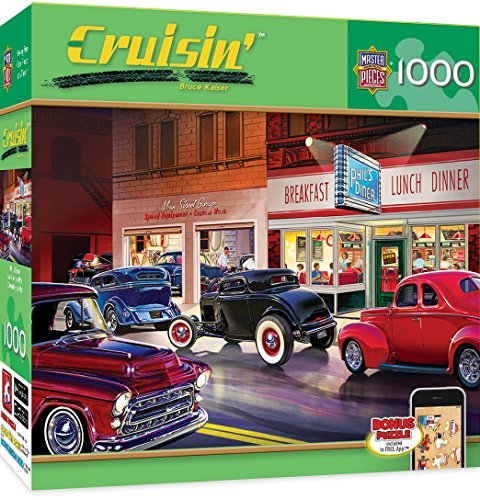 MasterPieces Cruisin' Phil's Diner - Classic Cars 1000 Piece Jigsaw Puzzle by Bruce (Diner Old Cars)