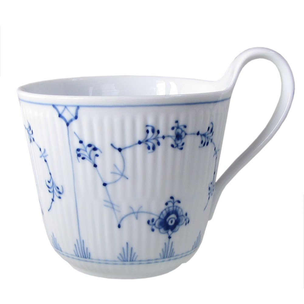 Blue Fluted Plain 11 oz. High Handle Mug