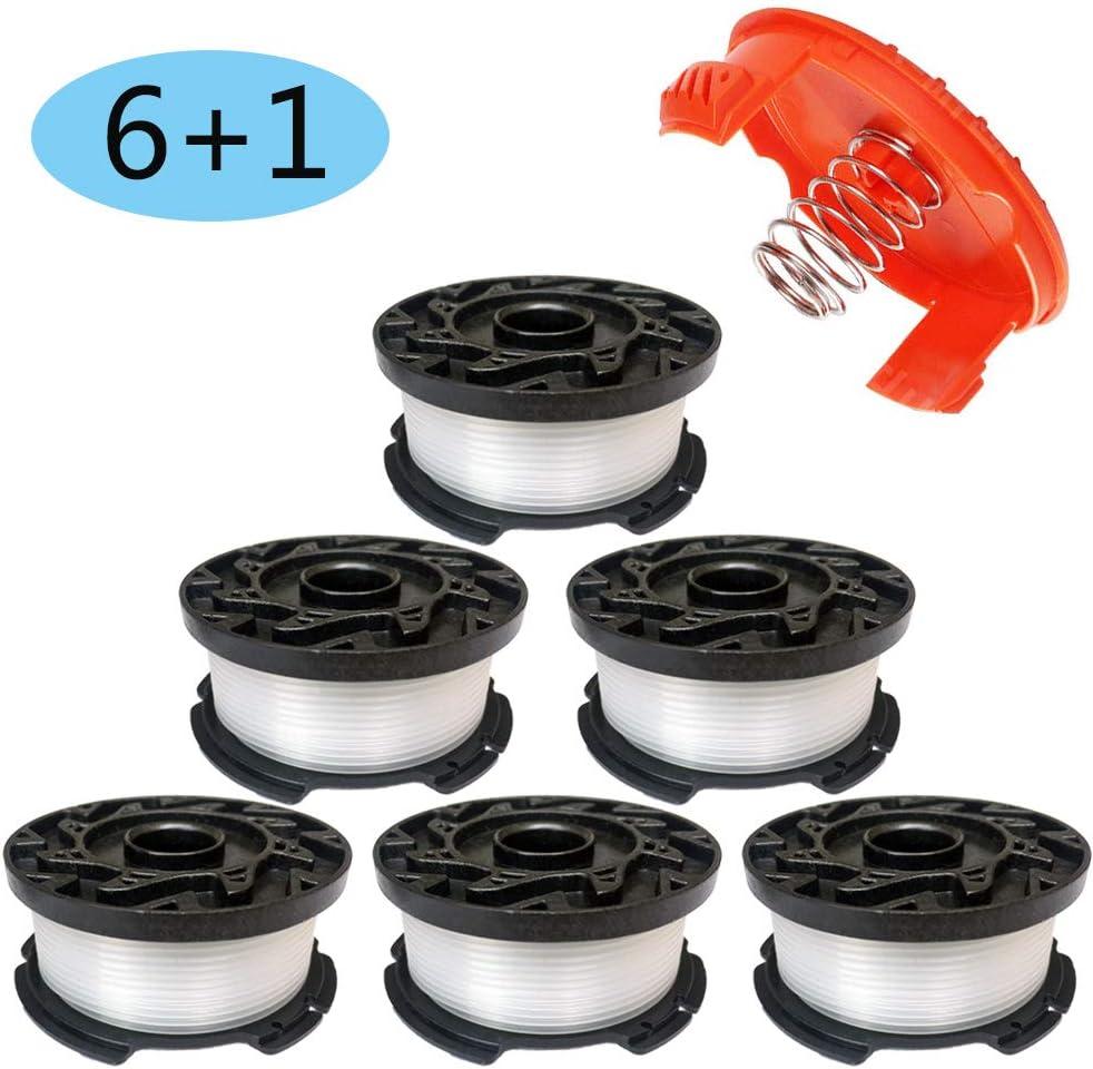 "30ft 0.065"" Line String Trimmer Autofeed Replacement Spool for Black and Decker AF-100-3ZP AF-100 AF-100-2 Weed Eater String Trimmers Replacement Spools (6 Replacement Spool,1 Spool Cap,1 Spring)"