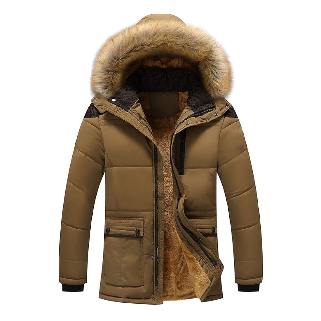 YUNY Mens Faux Fur Hooded Oversized Quilted Parka Jacket Outdoor Coat AS1 S