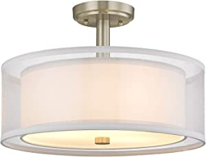 Dolan Designs 1275-09 Four Light Semi Flush Mount, Pwt, Nckl, B/S, Slvr