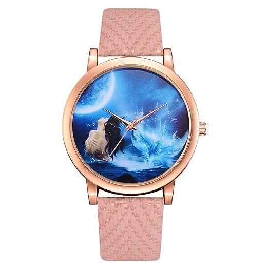 8abb9e689 Moderno Reloj de Cuarzo analógico para Mujer, Modelo Ginebra. Reloj Doble,  con Pila y Correa de Cuero Blanca: Amazon.es: Relojes