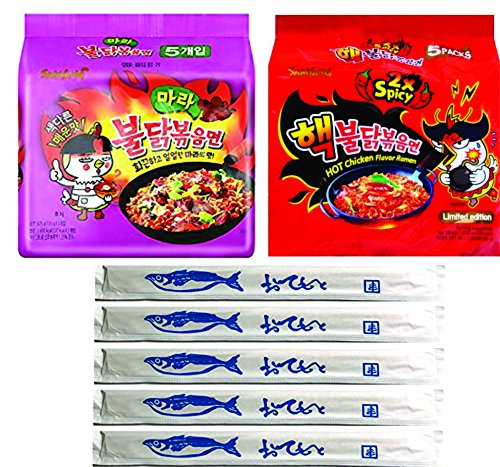Spicy Fried Chicken (Samyang Spicy Chicken Ramen Combo / 2x Spicy & MALA Combo, Pack of 10, With 5 Fish Logo Chopsticks (2x Spicy & MALA))