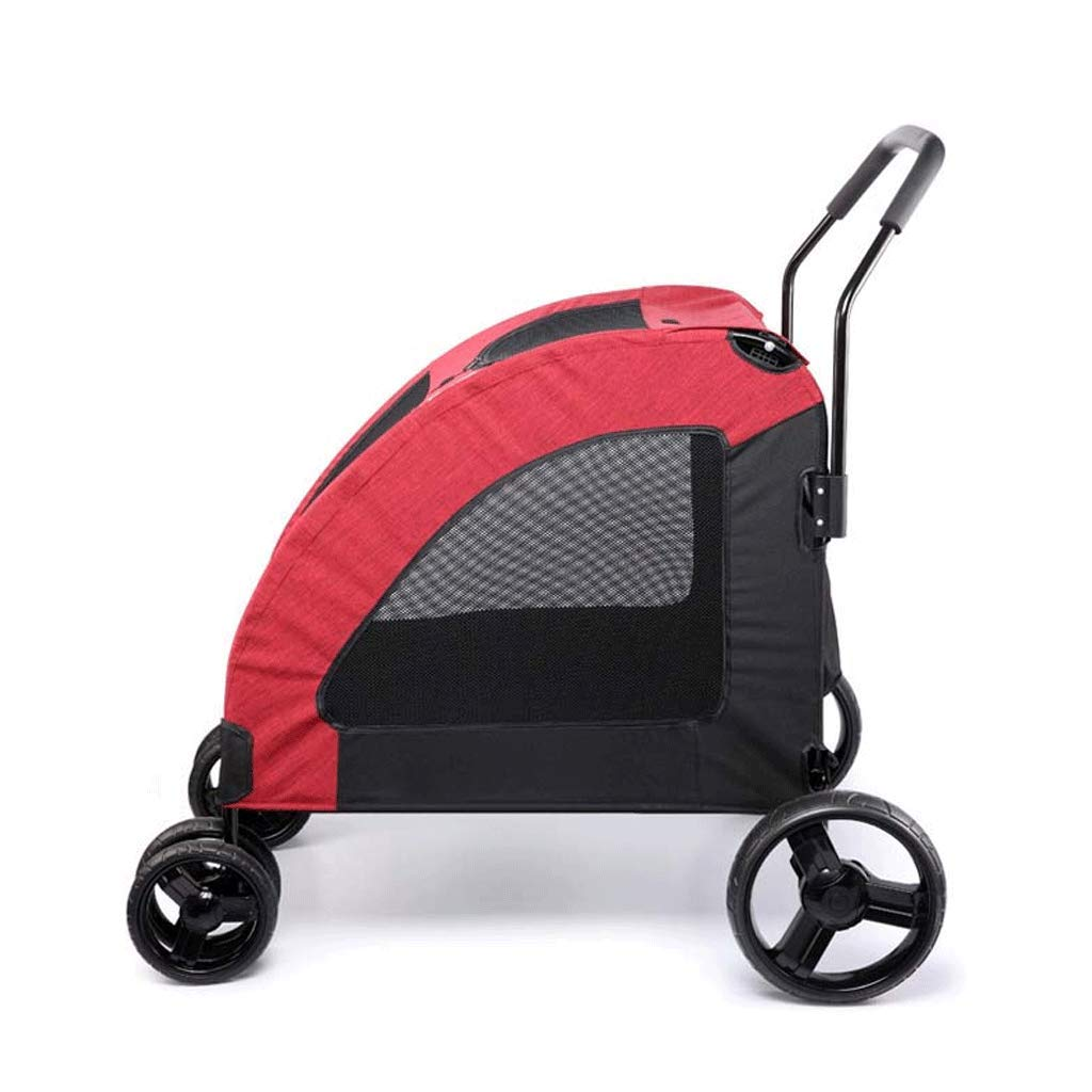 Red HAOCAI Wheeled Pet Stroller, Breathable Mesh Cover Foldable, Large Dog Outdoor Travel Scooter, Suitable For Mobility Problems, Injured Dogs And Cats (color   RED)