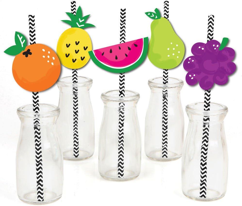 Tutti Fruity Paper Straw Decor - Frutti Summer Baby Shower or Birthday Party Striped Decorative Straws - Set of 24