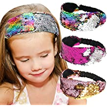 Sequin Headbands, Beinou Mermaid Reversible Sequins Headband Elastic Stretch Sparkly Glitter Fashion Headbands - Non Slip Velvet Lined Sports Fitness Head Band for Girls and Women Pack of 3