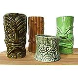 Tiki mugs cocktail set of 4 - large ceramic tiki tumblers - cute exotic cocktail glasses - funny ceramic cups - tiki bar professional drinkware - hawaiian party barware - great home bar present idea