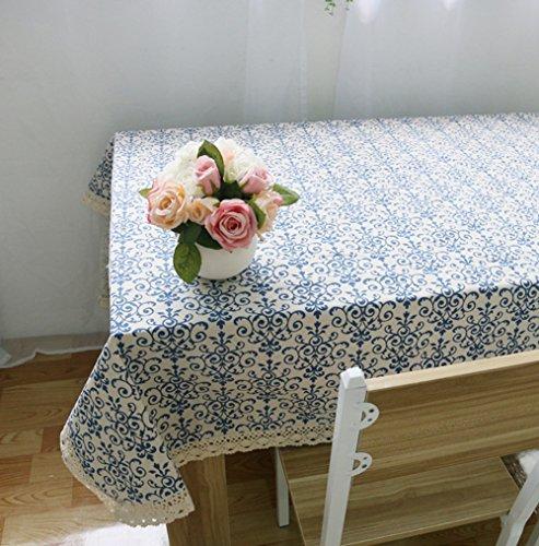 (Kingmerlina Cotton Linen Rectangle Bohemian Floral Print Tablecloth Polyester Multi Size)