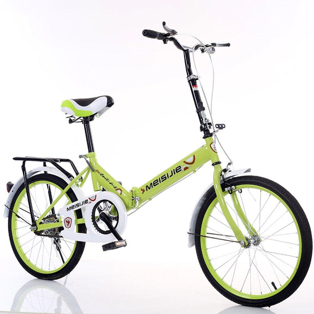 大人 折りたたみ自転車, 学生折りたたみ自転車 光ポータブル 子供たち 男子 レディース 折りたたみ自転車 B07DFFLFDW 20inch|緑 緑 20inch
