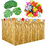 Hestya 9 Feet Hawaiian Grass Table Skirt Decorations with 30 Pieces 7 Inch Tropical Leaves and 30 Pieces Hibiscus Flowers for Luau Party Supplies
