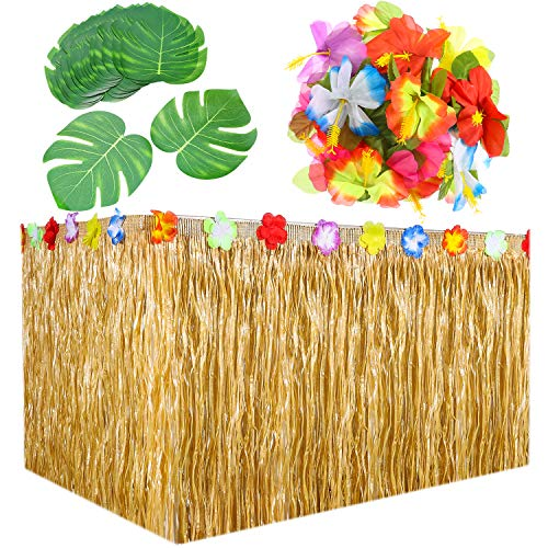 Hestya 9 Feet Hawaiian Grass Table Skirt Decorations with 30 Pieces 7 Inch Tropical Leaves and 30 Pieces Hibiscus Flowers for Luau Party Supplies by Hestya