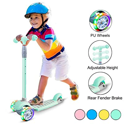 67i Scooters for Kids Scooters 3 Wheel for Toddler Scooter for Girls Boys 4 Adjustable Height Lean to Steer with Wide Deck PU Flashing Wheels for Children 3 to 12 Years Old(Green) : Sports & Outdoors
