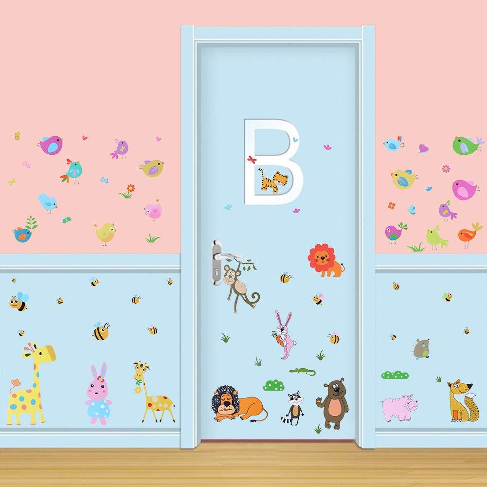- Anche per parete armadi Porte decorazione del soggiorno per bambini Leone Giraffa Uccelli volpe del Ippopotamo Adesivi da finestre removibile 30 cm x 40 cm x 3 fogli graziosi Animali Jungle