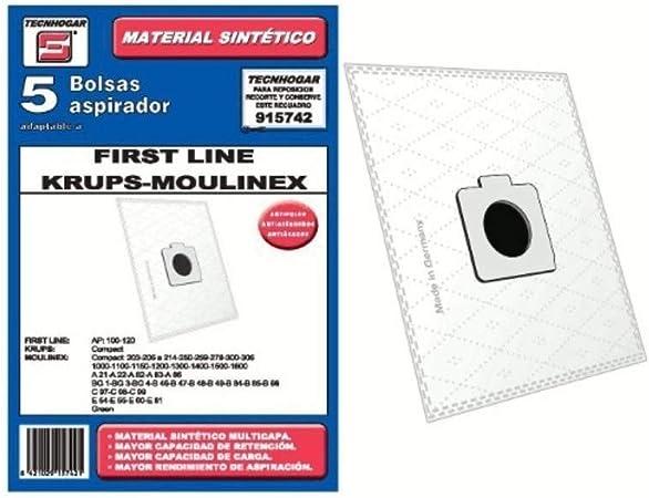 Recamania Bolsa Sintetica Aspirador First Line Krups Moulinex 5 Unidades 915742: Amazon.es