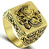 LILILEO Jewelry Gold Double Headed Imperial Eagle Ring Byzantine Emperor Russian Federation Coat Of Arms Signet For Men's Rings Jewelry