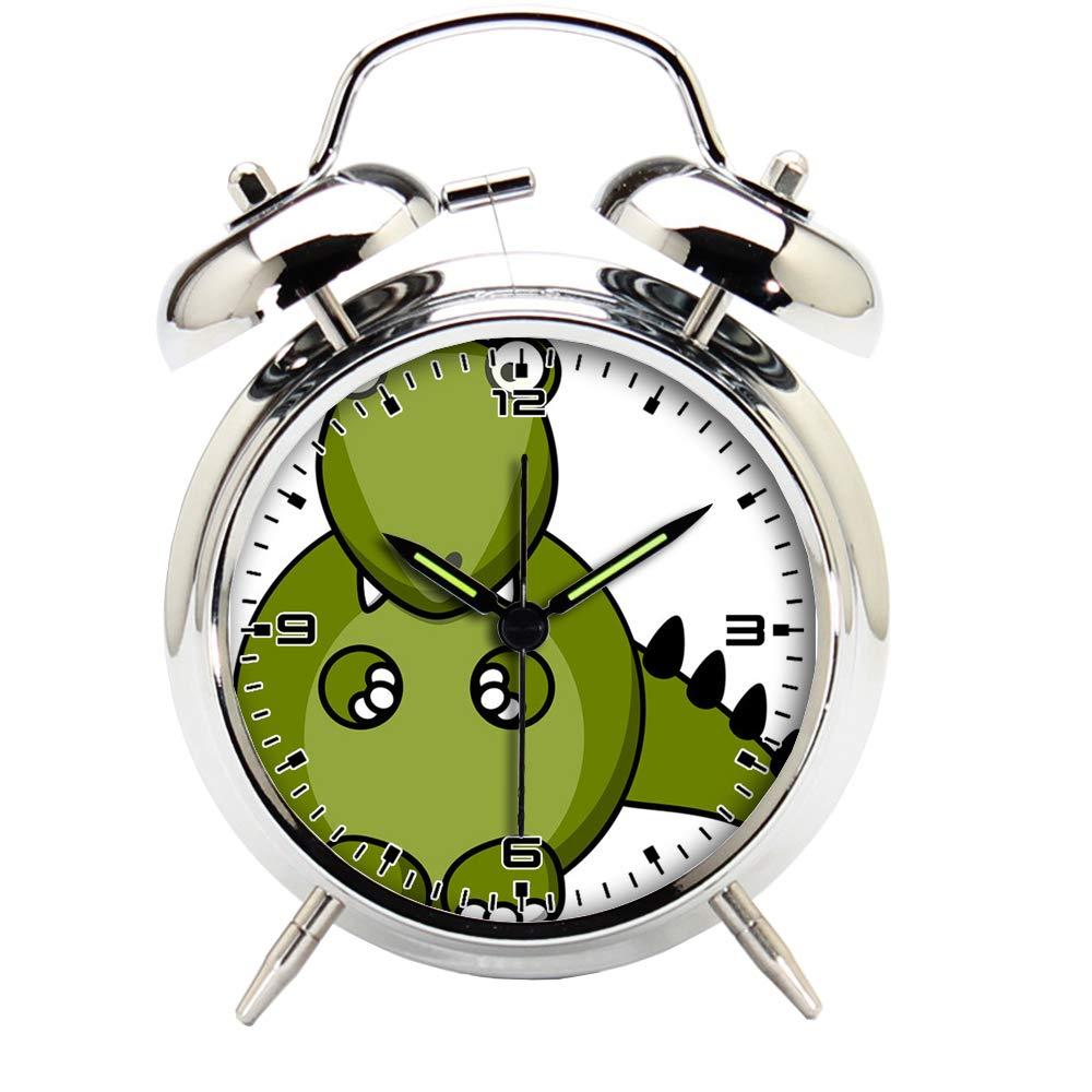 Children's Room Silver Dinosaur Silent Alarm Clock Twin Bell Mute Alarm Clock Quartz Analog Retro Bedside and Desk Clock with Nightlight-648.757_Dino, Dragon, Dinosaur, Animal, Monster, Cute, Cartoon