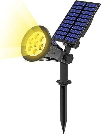 T-SUN 7 LED Foco Solar, Impermeable Luces Solares Exterior, Luz de Jardín, 2 Modos de Iluminación Opcionales, ángulo de 180° Ajustable, Luz de Proyecto Solar para Entrada, Camino.(3000K): Amazon.es: Hogar