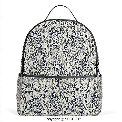 All Over Printed Backpack Vintage Style Grapes Vineyard Orchads Pattern Invitation Card Design Retro Image Sketch,Grey White,For Girls Cute Elementary School Bookbags -
