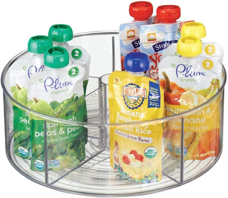 mDesign Organizador de comida para bebés – Bandeja giratoria multiusos – Organizador de plástico transparente – 5 compartimentos