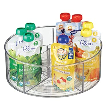 mDesign Divided Lazy Susan Turntable Storage Container for Kitchen Cabinet, Pantry, Refrigerator, Countertop Food Safe - Spinning Organizer for Kids/Toddler's Food Pouches - 5 Sections, Clear