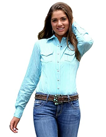 9efb4c7f0f Cruel Girl Women's Turquoise and White Spring Long Sleeve Button ...