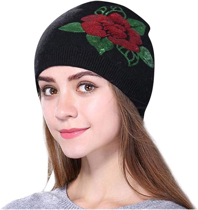 Qiran - Gorro de Lana para Mujer, diseño de Flores Bordadas, Talla ...