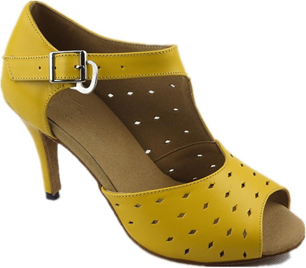 GUOSHIJITUAN Womens Peep-Toe Latin Dance Shoes,Leather Soft Bottom High Heels Dancing Shoes Tango Salsa Social Dancing Shoes