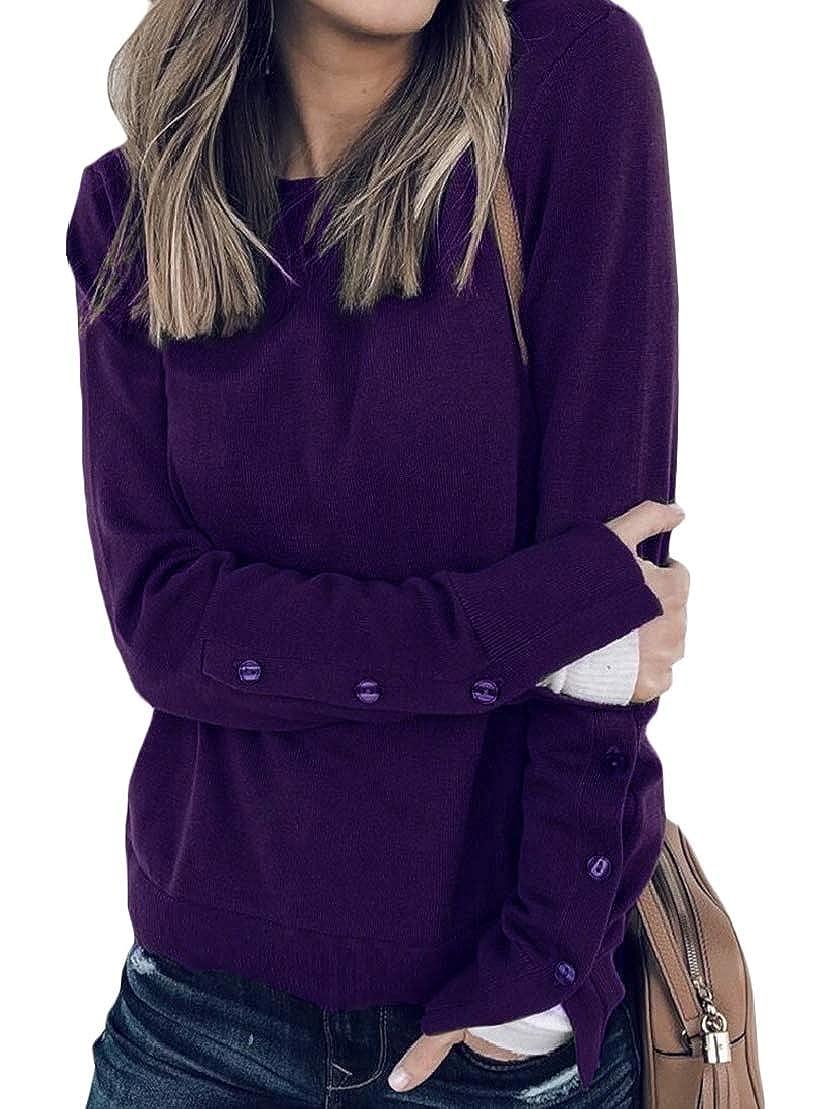 Wofupowga Womens Vogue Pullover Blouse Long-Sleeve Split O-Neck Sweatshirts