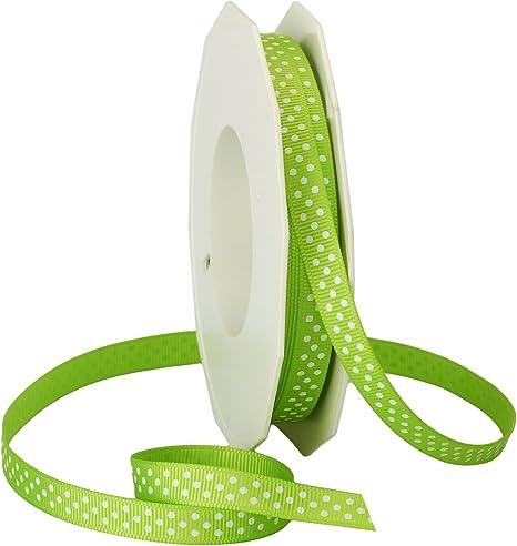 3//8-Inch by 20-Yard Spool Lime Morex Ribbon Swiss Dot Polyester Grosgrain Ribbon
