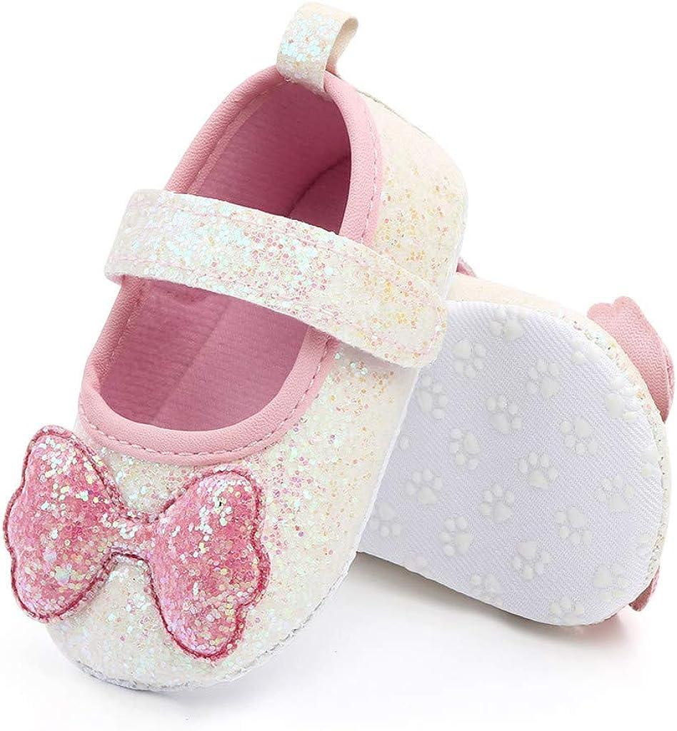 BaojunHT Newborn Baby Girls First Walking Shoes Bowknot Anti-Slip Soft Sole Mary Jane Flats Sequin Wedding Dress Princess