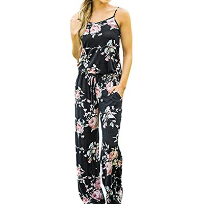 AMiERY Women's Floral Printed Jumpsuits Solid Rompers Casual Comfy Striped Jumpsuit with Pockets: Clothing