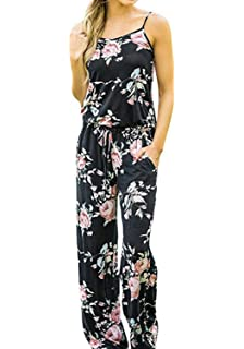 29c75ea45 AMiERY Women's Floral Printed Jumpsuits Solid Rompers Casual Comfy Striped  Jumpsuit with Pockets