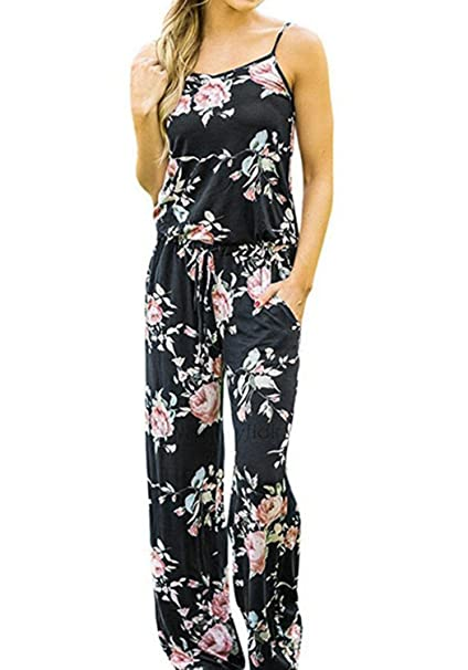 2358d96de00a8 AMiERY Women's Floral Printed Jumpsuits Solid Rompers Casual Comfy Striped  Jumpsuit with Pockets