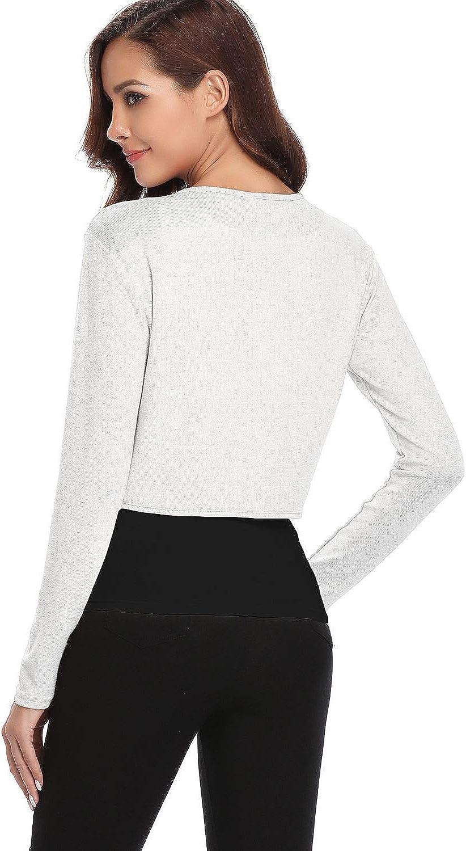 Hawiton Damen Bolero langearmel Strickjacke J/äckchen Schulterjacke Kurze Cardigan Elegante Bolero-Jacke Top Frauen Pullover f/ür Abendkleid