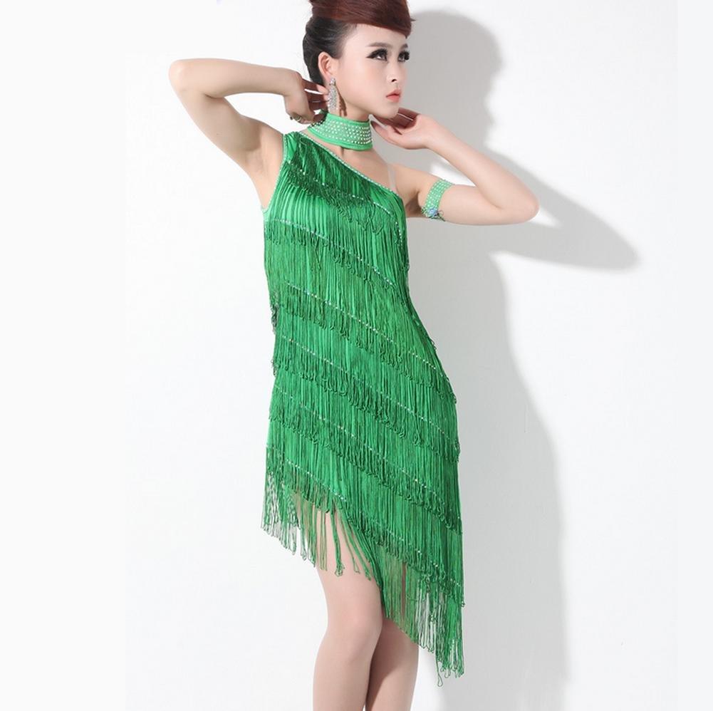 Green Paillette tassel Latin dance dresses
