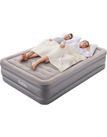 FiNeWaY King Inflatable Flocked Air Bed With 2 Pillows /& Hand Pump Guest Sleepover Camping Indoor Outdoor Mattress Airbed